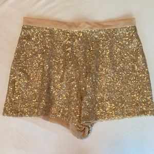 French Connection Gold Sequin Shorts